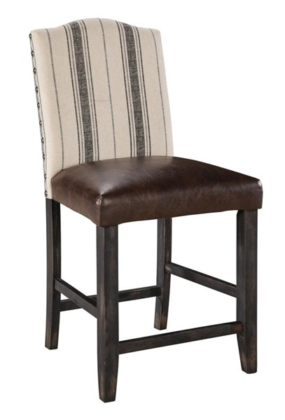 2 Moriann Vintage Casual Faux Leather Wood Upholstered Barstools D608-324