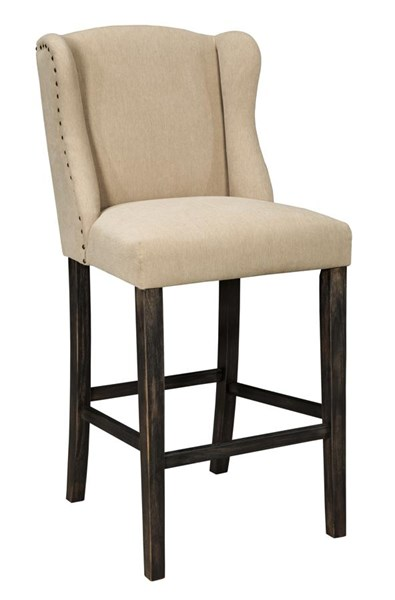 2 Moriann Casual Fabric Wood Tall Upholstered Barstools D608-530