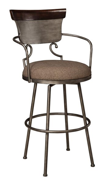 Moriann Vintage Casual Fabric Wood Metal Tall Upholstered Barstool D608-630