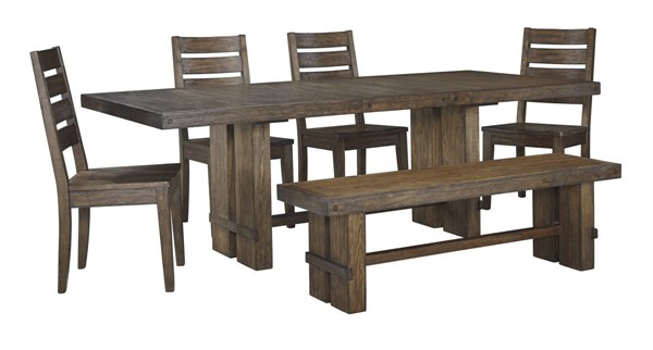 Leystone Contemporary Dark Brown Solid Wood 6pc Dining Room Set D614-DR-S1