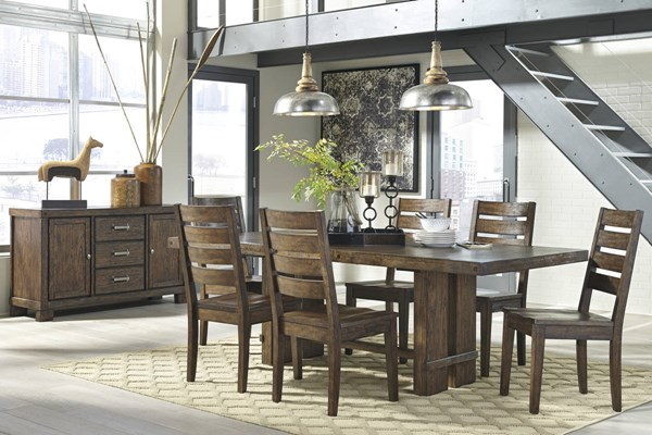 Leystone Contemporary Dark Brown Solid Wood Dining Room Set D614-DR