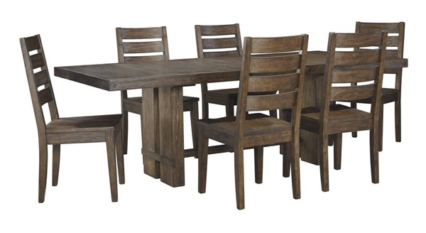 Leystone Contemporary Dark Brown Solid Wood 7pc Dining Room Set D614-DR-S2