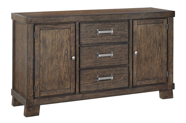 Leystone Contemporary Dark Brown Solid Wood Dining Room Server D614-60