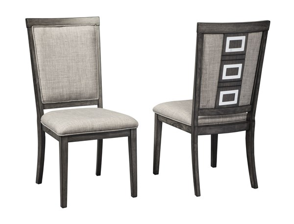 2 Ashley Furniture Chadoni Gray Upholstered Dining Side Chairs D624-01