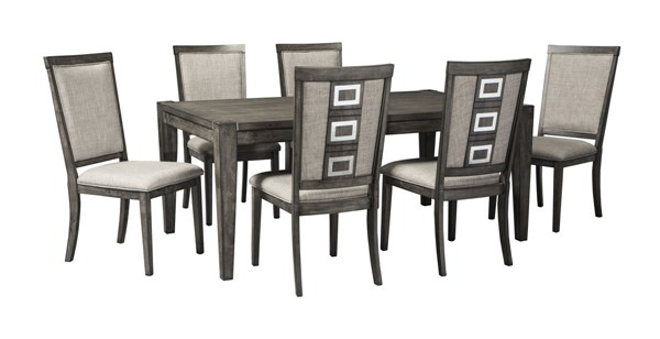 Chadoni Contemporary Gray Fabric Solid Wood 7pc Dining Room Set D624-DR-S1