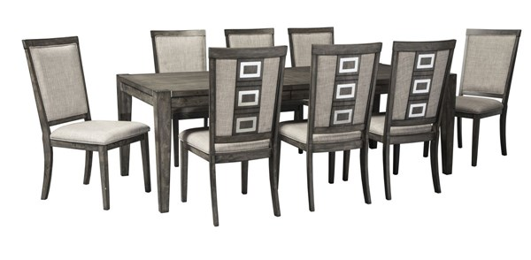 Chadoni Contemporary Gray Fabric Solid Wood 9pc Dining Room Set D624-DR-S2