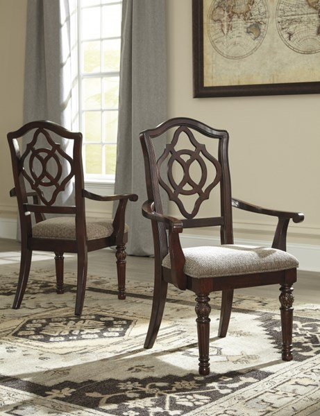 2 Leahlyn Old World Brown Fabric Wood Dining Upholstered Arm Chairs D626-01A