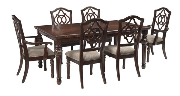 Leahlyn Old World Brown Fabric Wood 7pc Dining Room Set W/Arm Chairs D626-DR-S3