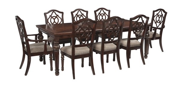 Leahlyn Old World Brown Fabric Wood 9pc Dining Room Set W/Arm Chairs D626-DR-S1