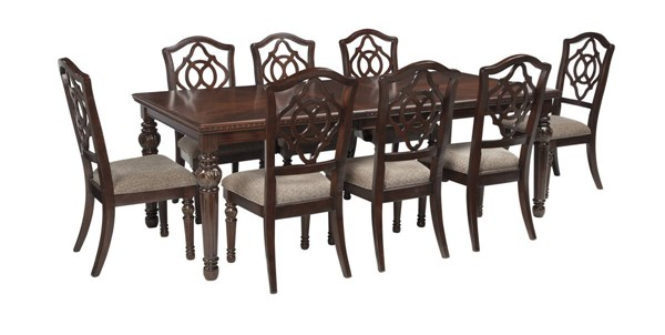 Leahlyn Reddish Brown Fabric Wood 9pc Dining Room Set W/Armless Chairs D626-DR-S4
