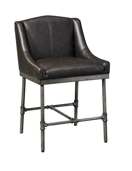 2 Starmore Contemporary Brown PU Wood Metal Upholstered Barstools D633-324