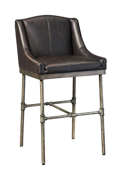 2 Starmore Contemporary Brown PU Wood Metal Tall Upholstered Barstools D633-330