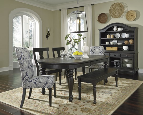 Sharlowe Casual Charcoal Fabric Wood Dining Room Set D635-DR
