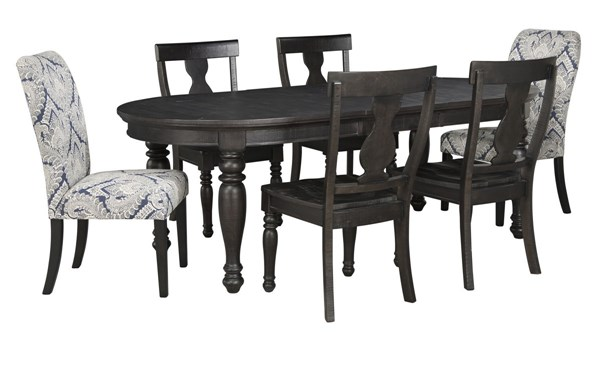 Sharlowe Casual Charcoal Fabric Wood 7pc Dining Room Set D635-DR-S2