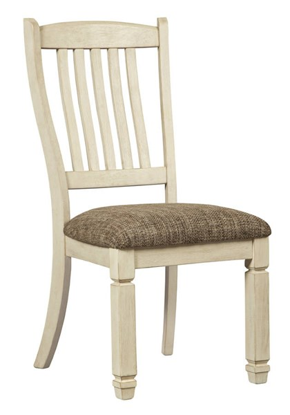 2 Ashley Furniture Bolanburg Antique White Upholstered Dining Side Chairs D647-01