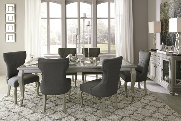 Coralayne Old World Silver Finish PVC Glass 7pc Dining Room Set D650-DR-S2