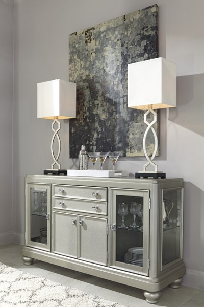 Coralayne Old World Silver Finish PVC Glass Dining Room Server D650-60