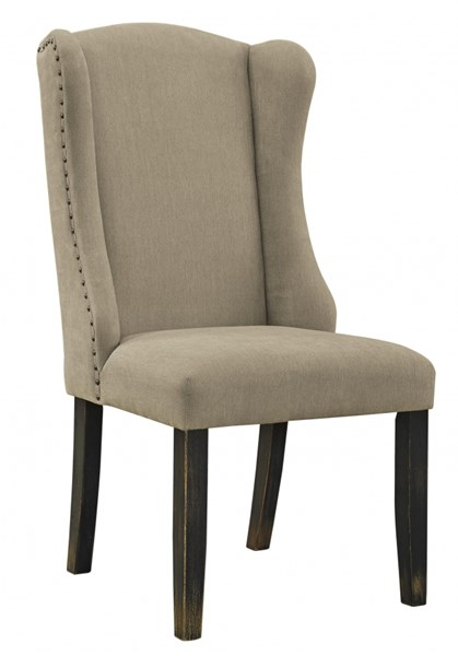 2 Gerlane Casual Dark Brown Fabric Wood Dining Upholstered Side Chairs D657-02