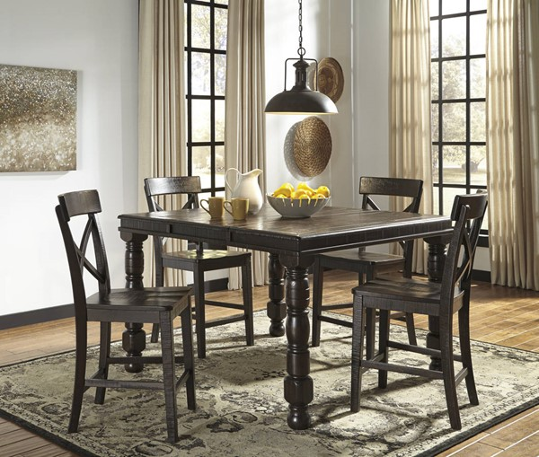 Gerlane Casual Dark Brown Solid Wood Counter Height / Bar Set D657-DR