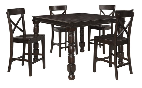 Gerlane Casual Dark Brown Solid Wood 5pc Counter Height / Bar Set D657-DR-S4