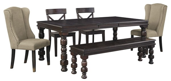 Gerlane Casual Dark Brown Fabric Solid Wood 6pc Dining Room Set D657-DR-S2