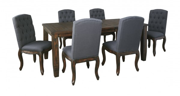 Trudell Golden Brown Fabric Wood 7pc Dining Room Complete Set D658-DR-S5