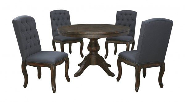Trudell Golden Brown Fabric Wood 5pc Dining Room Complete Set D658-DR-S6