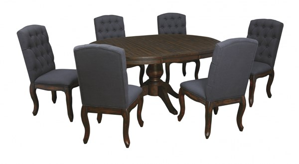 Trudell Golden Brown Fabric Wood 7pc Dining Room Set D658-DR-S1