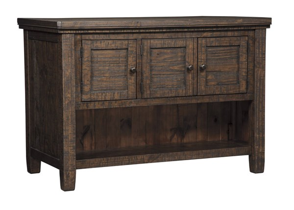 Trudell Casual Dark Brown Solid Wood Rectangle Counter Table W/Storage D658-65