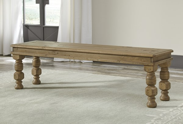 Trishley Casual Light Brown Wood Large Dining Room Bench D659-00
