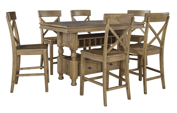 Trishley Casual Light Brown Solid Wood 7pc Counter Height / Bar Set D659-BAR-S2