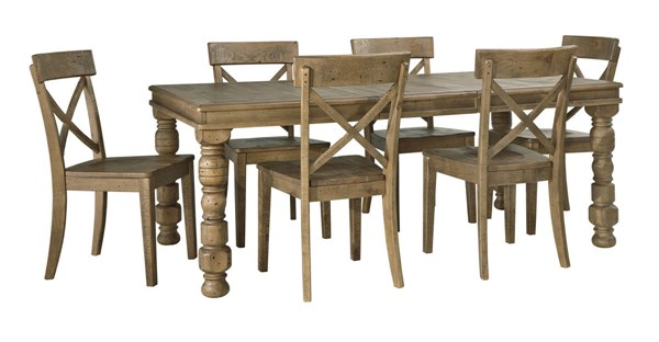 Trishley Casual Light Brown Wood 7pc Dining Room Set D659-DR-S2