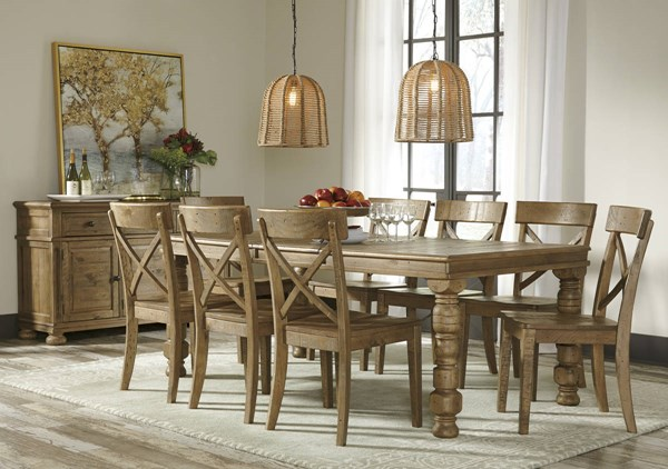 Trishley Casual Light Brown Wood Dining Room Set The