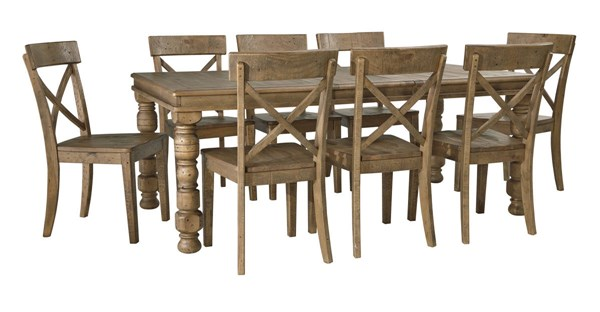 Trishley Casual Light Brown Wood 9pc Dining Room Set The