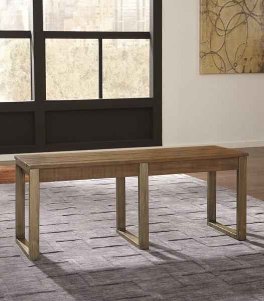 Dondie Urban Warm Brown Wood Dining Room Bench D663-00