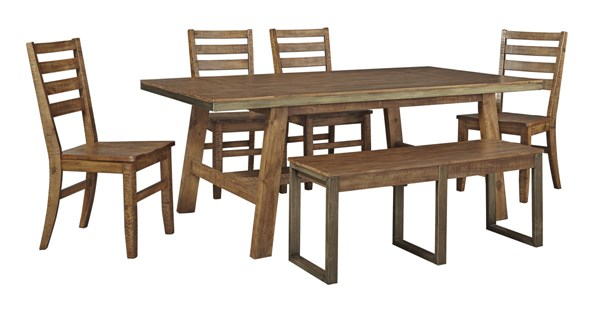 Dondie Urban Warm Brown Solid Wood 6pc Dining Room Complete Set D663-DR-RECT-S2