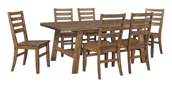 Dondie Urban Warm Brown Solid Wood 7pc Rectangle Dining Room Set D663-DR-RECT-S1
