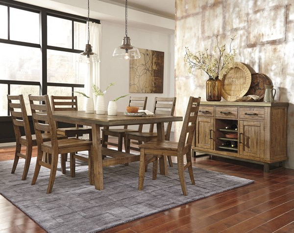 Dondie Urban Warm Brown Solid Wood Dining Set DONDIE-DB-BNDL