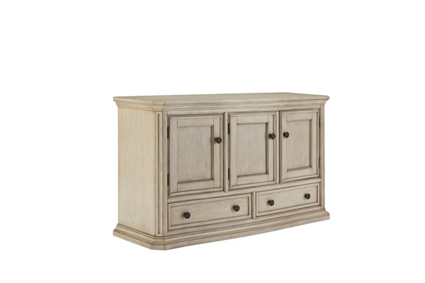 Demarlos Vintage Casual Parchment White Wood Dining Room