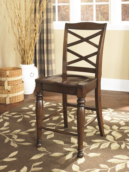 2 Porter Casual Brown Wood Cross Back Barstools D697-124