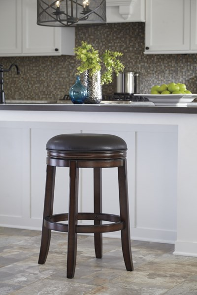 2 Porter Rustic Brown Faux Leather Wood Tall Upholstered Swivel Stools D697-330
