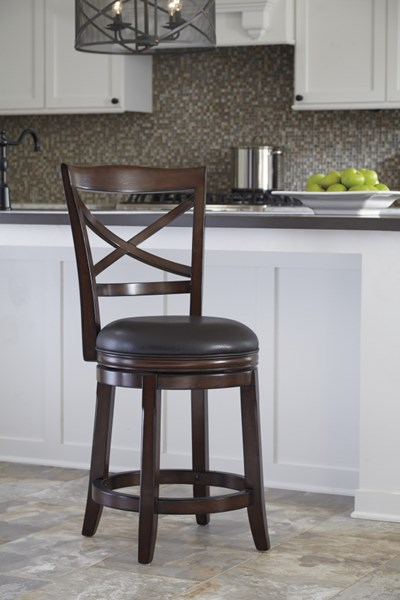 2 Porter Rustic Brown Faux Leather Wood Upholstered Swivel Barstools D697-424