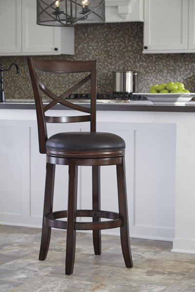 2 Porter Brown Faux Leather Wood Tall Upholstered Swivel Barstools D697-430