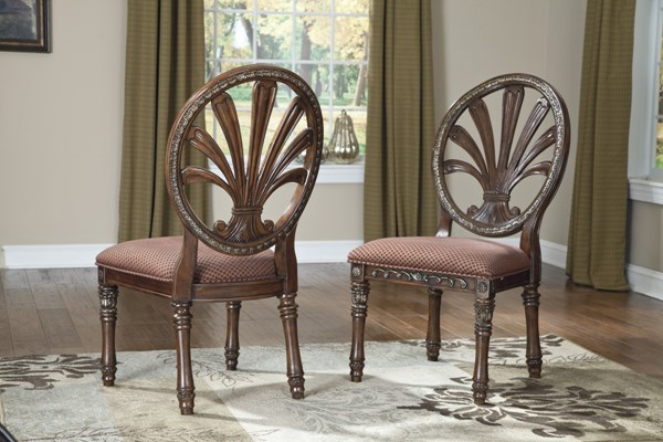 2 Ledelle Traditional Brown Fabric Wood Round Back Side Chairs D705-03