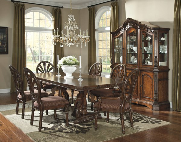Ledelle Traditional Brown Wood Glass 7pc Dining Room Set D705-S