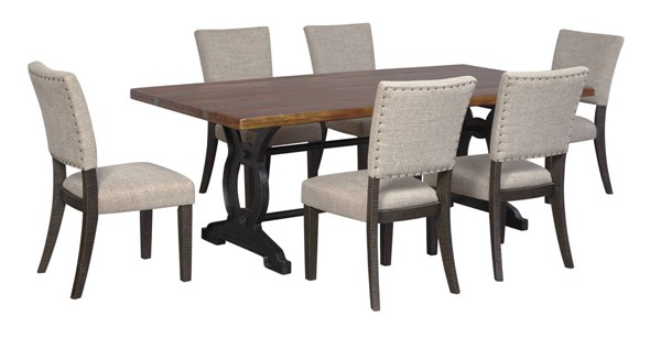 Zurani Casual Brown Black Fabric Solid Wood Metal Dining Room Set D709-DR