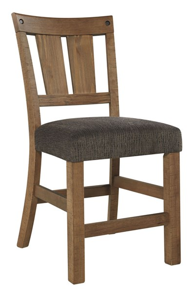 2 Tamilo Casual Gray Brown Fabric Solid Wood Upholstered Barstools D714-124