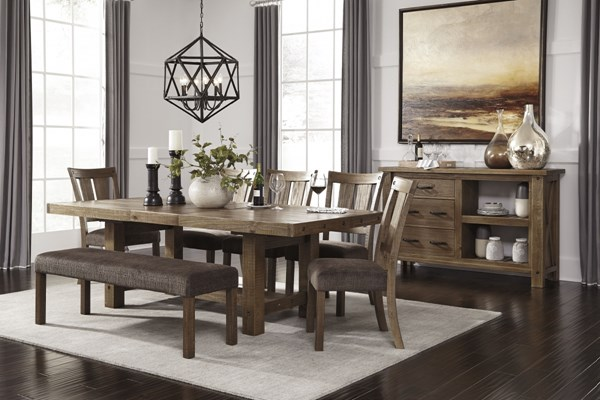 Tamilo Vintage Casual Brown 8pc Dining Room Set W/Bench D714-DR3