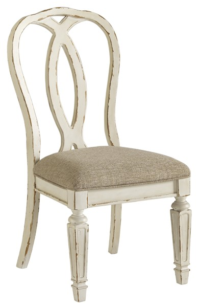 2 Ashley Furniture Realyn Chipped White Dining Upholstered Side Chairs D743-02
