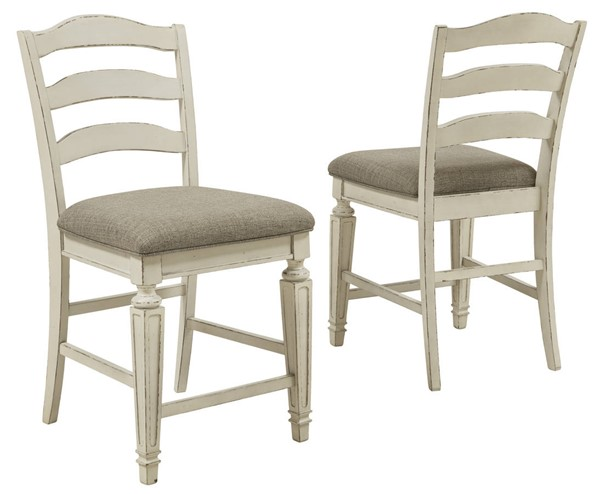 2 Ashley Furniture Realyn Chipped White Upholstered Barstools D743-124
